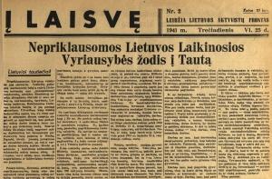 """Antrojo pasaulinio karo metų aktualijos – elektroninėje  """"Į Laisvę"""" versijoje"""